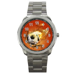 Soccer With Fire And Flame And Floral Elelements Sport Metal Watches