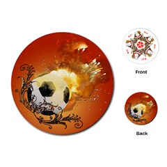 Soccer With Fire And Flame And Floral Elelements Playing Cards (round)