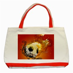 Soccer With Fire And Flame And Floral Elelements Classic Tote Bag (Red)