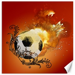 Soccer With Fire And Flame And Floral Elelements Canvas 16  x 16