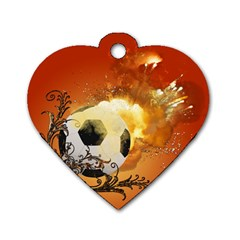 Soccer With Fire And Flame And Floral Elelements Dog Tag Heart (One Side)
