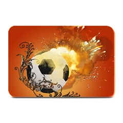 Soccer With Fire And Flame And Floral Elelements Plate Mats
