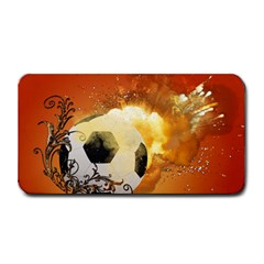 Soccer With Fire And Flame And Floral Elelements Medium Bar Mats