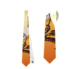 Soccer With Fire And Flame And Floral Elelements Neckties (One Side)