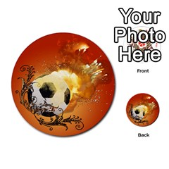 Soccer With Fire And Flame And Floral Elelements Multi-purpose Cards (Round)