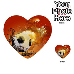 Soccer With Fire And Flame And Floral Elelements Multi-purpose Cards (Heart)