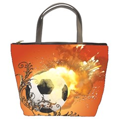 Soccer With Fire And Flame And Floral Elelements Bucket Bags