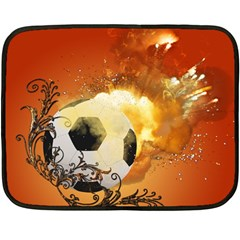 Soccer With Fire And Flame And Floral Elelements Fleece Blanket (Mini)
