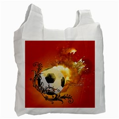 Soccer With Fire And Flame And Floral Elelements Recycle Bag (Two Side)