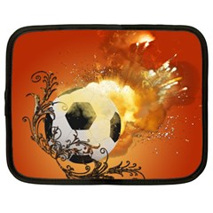 Soccer With Fire And Flame And Floral Elelements Netbook Case (XXL)