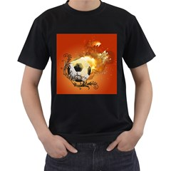 Soccer With Fire And Flame And Floral Elelements Men s T-Shirt (Black)