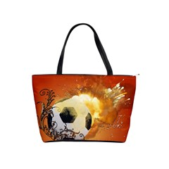 Soccer With Fire And Flame And Floral Elelements Shoulder Handbags
