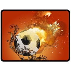 Soccer With Fire And Flame And Floral Elelements Fleece Blanket (Large)