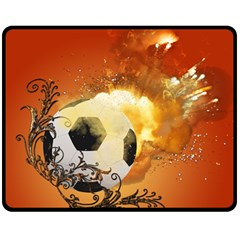Soccer With Fire And Flame And Floral Elelements Fleece Blanket (Medium)