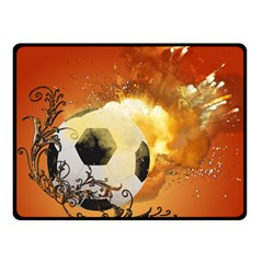 Soccer With Fire And Flame And Floral Elelements Fleece Blanket (Small)