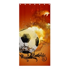 Soccer With Fire And Flame And Floral Elelements Shower Curtain 36  x 72  (Stall)
