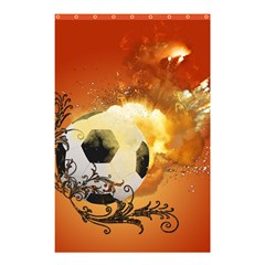 Soccer With Fire And Flame And Floral Elelements Shower Curtain 48  X 72  (small)