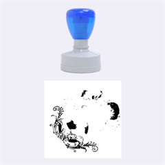 Soccer With Fire And Flame And Floral Elelements Rubber Round Stamps (Medium)