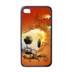 Soccer With Fire And Flame And Floral Elelements Apple iPhone 4 Case (Black)