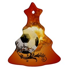 Soccer With Fire And Flame And Floral Elelements Ornament (Christmas Tree)