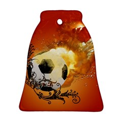 Soccer With Fire And Flame And Floral Elelements Ornament (Bell)