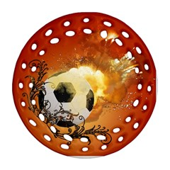 Soccer With Fire And Flame And Floral Elelements Round Filigree Ornament (2Side)