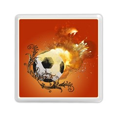 Soccer With Fire And Flame And Floral Elelements Memory Card Reader (Square)