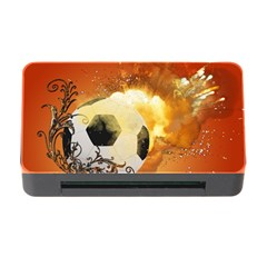 Soccer With Fire And Flame And Floral Elelements Memory Card Reader With Cf