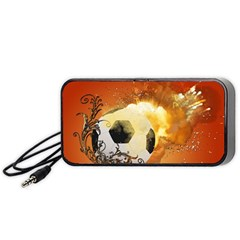 Soccer With Fire And Flame And Floral Elelements Portable Speaker (Black)