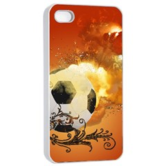 Soccer With Fire And Flame And Floral Elelements Apple Iphone 4/4s Seamless Case (white)
