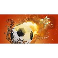 Soccer With Fire And Flame And Floral Elelements YOU ARE INVITED 3D Greeting Card (8x4)