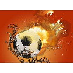 Soccer With Fire And Flame And Floral Elelements Birthday Cake 3D Greeting Card (7x5)