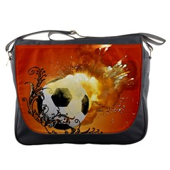 Soccer With Fire And Flame And Floral Elelements Messenger Bags