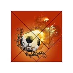 Soccer With Fire And Flame And Floral Elelements Acrylic Tangram Puzzle (4  x 4 )