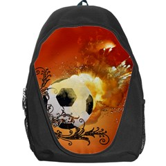 Soccer With Fire And Flame And Floral Elelements Backpack Bag