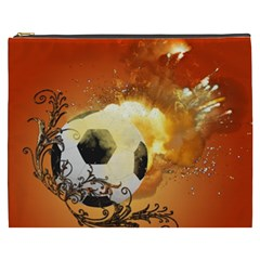 Soccer With Fire And Flame And Floral Elelements Cosmetic Bag (XXXL)