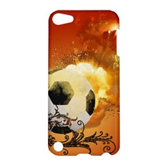 Soccer With Fire And Flame And Floral Elelements Apple iPod Touch 5 Hardshell Case