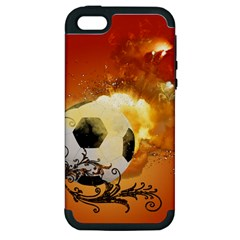 Soccer With Fire And Flame And Floral Elelements Apple iPhone 5 Hardshell Case (PC+Silicone)