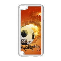 Soccer With Fire And Flame And Floral Elelements Apple iPod Touch 5 Case (White)