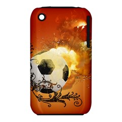 Soccer With Fire And Flame And Floral Elelements Apple iPhone 3G/3GS Hardshell Case (PC+Silicone)