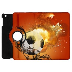 Soccer With Fire And Flame And Floral Elelements Apple iPad Mini Flip 360 Case