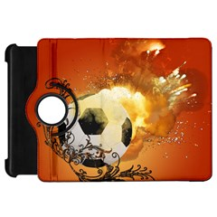 Soccer With Fire And Flame And Floral Elelements Kindle Fire HD Flip 360 Case