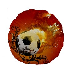 Soccer With Fire And Flame And Floral Elelements Standard 15  Premium Round Cushions