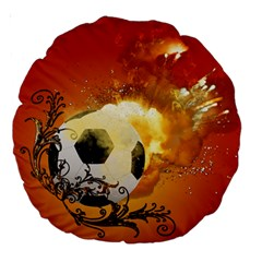 Soccer With Fire And Flame And Floral Elelements Large 18  Premium Round Cushions