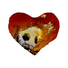 Soccer With Fire And Flame And Floral Elelements Standard 16  Premium Heart Shape Cushions