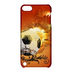 Soccer With Fire And Flame And Floral Elelements Apple iPod Touch 5 Hardshell Case with Stand