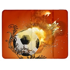 Soccer With Fire And Flame And Floral Elelements Samsung Galaxy Tab 7  P1000 Flip Case