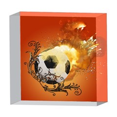 Soccer With Fire And Flame And Floral Elelements 5  x 5  Acrylic Photo Blocks
