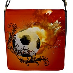 Soccer With Fire And Flame And Floral Elelements Flap Messenger Bag (S)