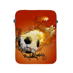 Soccer With Fire And Flame And Floral Elelements Apple iPad 2/3/4 Protective Soft Cases